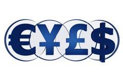 Símbolos de moneda potentes imagen de archivo libre de regalías