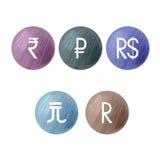 Símbolos de monedas BRIC Foto de archivo libre de regalías