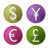 Símbolos de monedas, dólar, libra, euro y yenes Foto de archivo libre de regalías