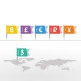 Símbolos de monedas euro de Yen Yuan Bitcoin Ruble Pound Mainstream del dólar en muestra de la bandera en mapa del mundo ilustración del vector