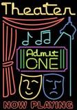 Símbolos de néon do teatro/estágio Fotos de Stock Royalty Free
