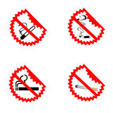 Símbolos de no fumadores modernos Imágenes de archivo libres de regalías