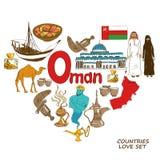 Símbolos de Omã no conceito da forma do coração Imagens de Stock