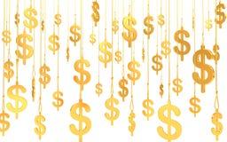 Símbolos de oro de Hung Dollar (3d rinden) stock de ilustración