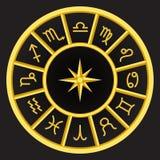 Símbolos de oro del zodiaco del círculo en cuaderna de oro Fotos de archivo libres de regalías