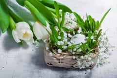 Símbolos de Pascua con los tulipanes y los huevos Imagenes de archivo