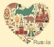 Símbolos de Rusia bajo la forma de corazón ilustración del vector