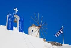 Símbolos de Santorini, Grecia Foto de archivo
