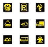 Símbolos de serviços do táxi Fotografia de Stock Royalty Free