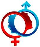Símbolos de sexo ligados ilustração royalty free