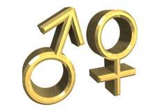 Símbolos de sexo masculino e fêmea (3D) Fotografia de Stock