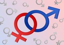 Símbolos de sexo masculino y femenino Fotos de archivo libres de regalías
