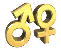 Símbolos de sexo masculino y femenino (3D) Fotografía de archivo libre de regalías