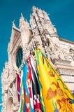 Símbolos de Siena - bandeiras do domo e dos distritos imagem de stock