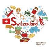 Símbolos de Suiza en concepto de la forma del corazón Fotos de archivo