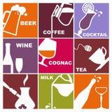 Símbolos de várias bebidas ilustração do vetor