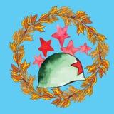 Símbolos de Victory Day textura da aquarela ilustração do vetor