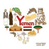 Símbolos de Yemen en concepto de la forma del corazón Imágenes de archivo libres de regalías