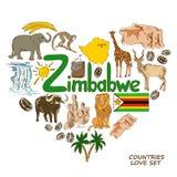 Símbolos de Zimbabwe en concepto de la forma del corazón Fotos de archivo