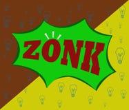 Símbolos de ZONK-, icono, y baground del ejemplo ilustración del vector