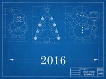 Símbolos del Año Nuevo - modelo Foto de archivo libre de regalías