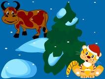 Símbolos del Año Nuevo saliente y Fotografía de archivo libre de regalías