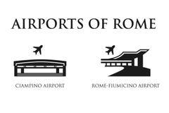 Símbolos del aeropuerto de Roma ilustración del vector