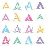 Símbolos del alfabeto y elementos de la letra de A Foto de archivo