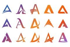 Símbolos del alfabeto y elementos de la letra de A Fotografía de archivo libre de regalías