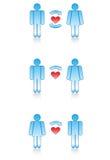 Símbolos del amor: hombres y mujeres. Imagen de archivo