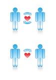 Símbolos del amor: Pares alegres. Foto de archivo libre de regalías