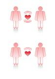 Símbolos del amor: Pares lesbianos. Foto de archivo