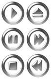 Símbolos del botón del jugador Imágenes de archivo libres de regalías