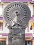 Símbolos del budismo de la piedra arenisca Fotografía de archivo libre de regalías