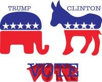Símbolos del burro y del elefante Ilustración del vector Imagen de archivo