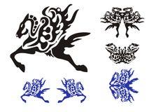 Símbolos del caballo con un ala, una mariposa y los pescados Fotos de archivo