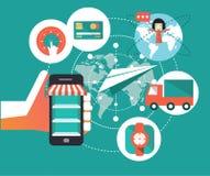 Símbolos del comercio electrónico, haciendo compras en móvil Foto de archivo libre de regalías