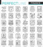 Símbolos del concepto del esquema de las actividades bancarias de las finanzas mini Ejemplos lineares del estilo del movimiento m libre illustration