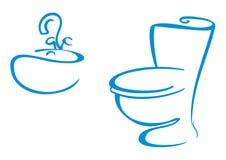 Símbolos del cuarto de baño stock de ilustración