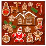 Símbolos del día de fiesta de la galleta de la Navidad stock de ilustración