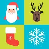 Símbolos del día de fiesta de la Navidad - santa, ciervos, calcetín y copo de nieve en estilo plano Imagen de archivo libre de regalías