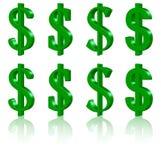 símbolos del dólar 3D Fotografía de archivo libre de regalías