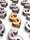 símbolos del dólar 3D Fotos de archivo libres de regalías