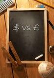 Símbolos del dólar y de la libra Fotografía de archivo libre de regalías