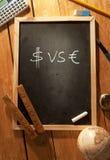 Símbolos del dólar y del euro Foto de archivo libre de regalías