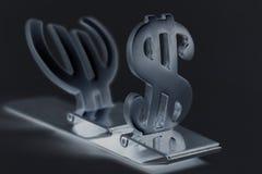Símbolos del dólar y del euro Fotografía de archivo libre de regalías