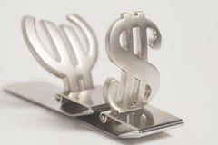 Símbolos del dólar y del euro Imagen de archivo