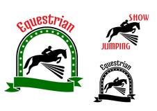 Símbolos del deporte ecuestre con los caballos de salto ilustración del vector