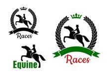 Símbolos del deporte ecuestre con los caballos y los jinetes stock de ilustración