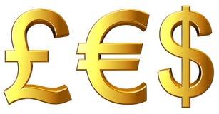 Símbolos del dinero Imagen de archivo libre de regalías